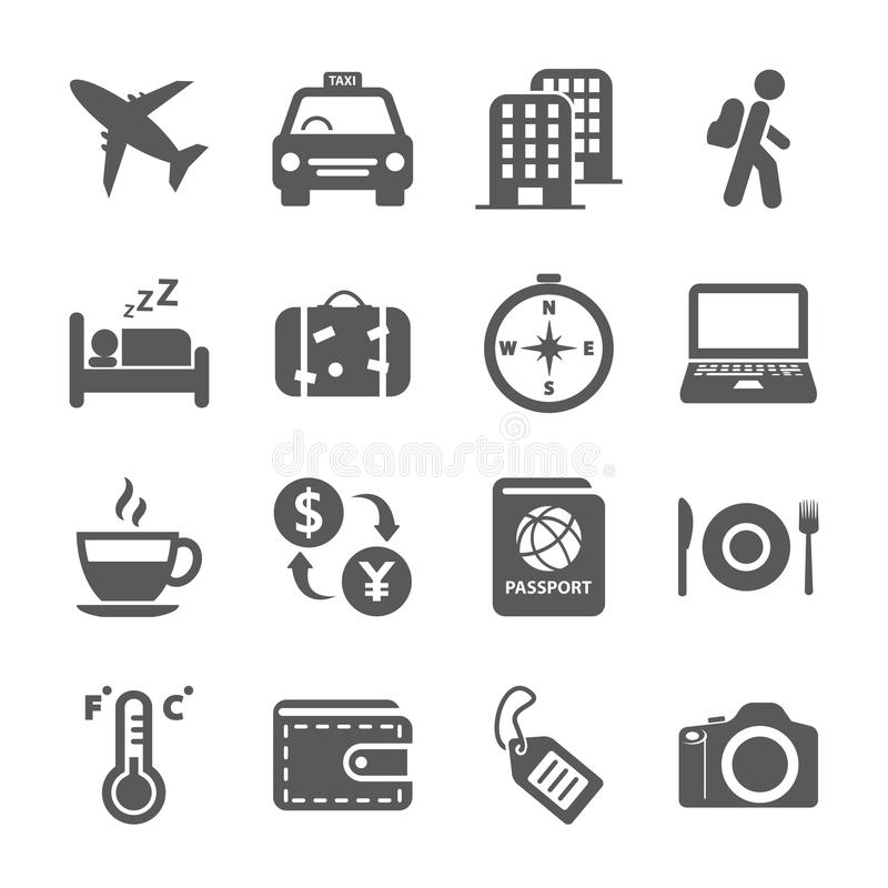 Travel and tourism icon set, vector eps10 royalty free illustration