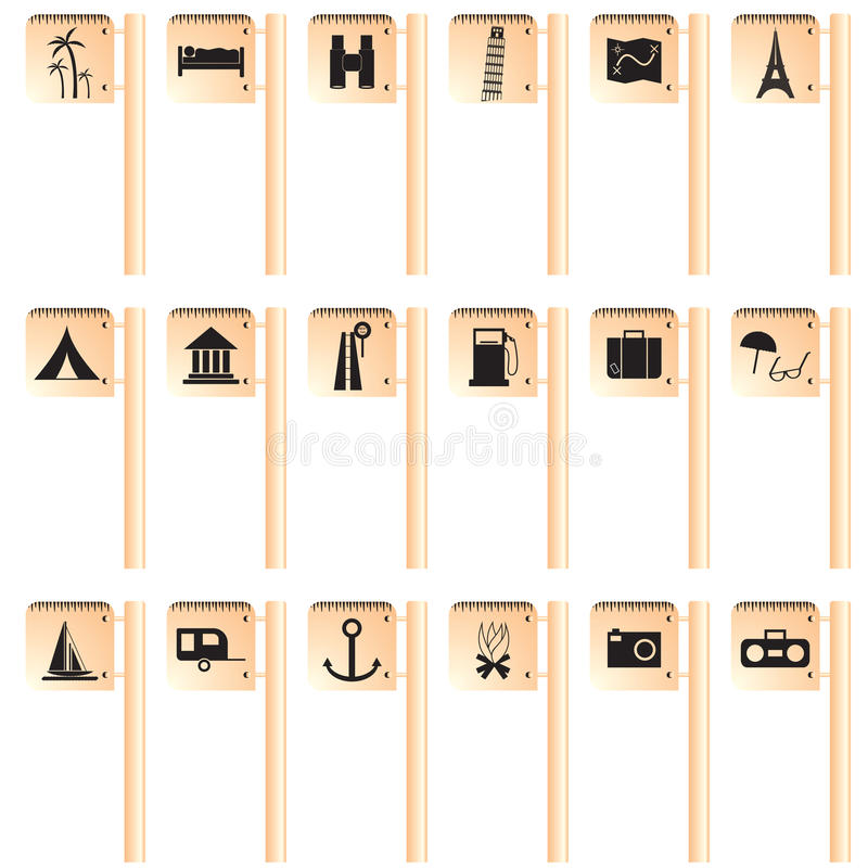 Download Travel And Tourism Icon On Sign Royalty Free Stock Image - Image: 12823476