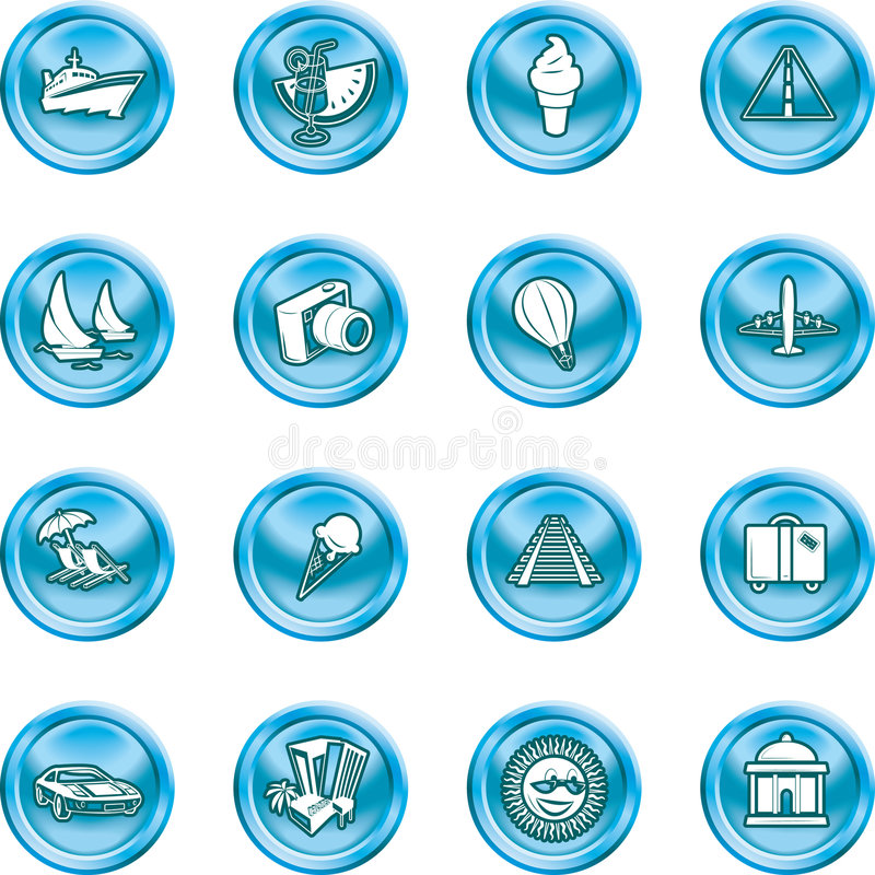 Travel and tourism Icons. A series of icons relating to vacations, travel and tourism. No meshes used royalty free illustration