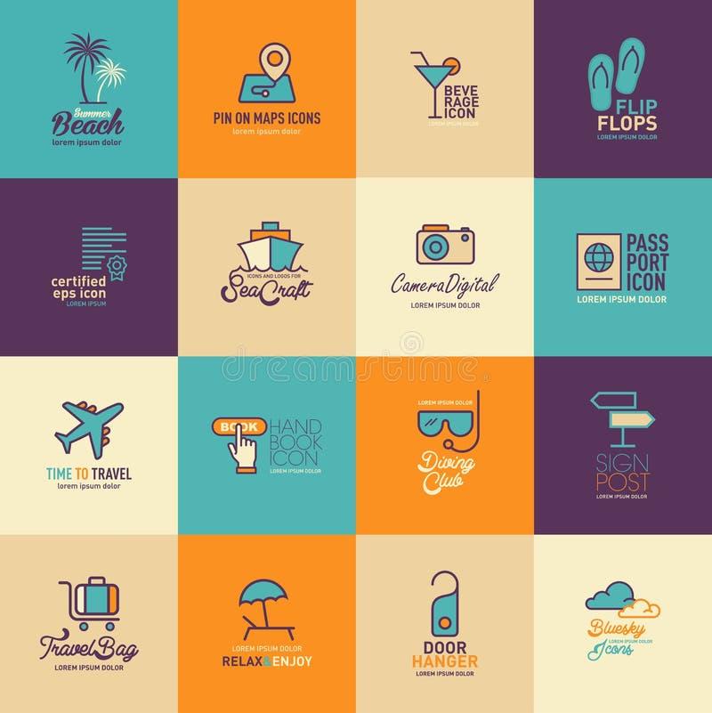 Travel And Tourism Icons Set Flat Design, Logo Design Template Icon ...