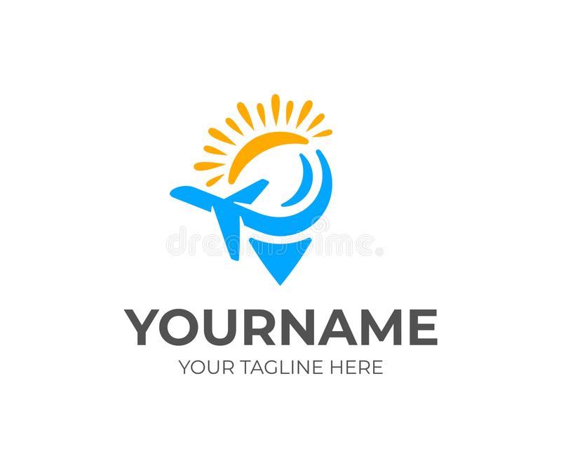 Travel and tourism, pin or location, airplane or plane and sun, logo design. Traveling, point, pointer, marker and position, vecto. R design and illustration stock illustration