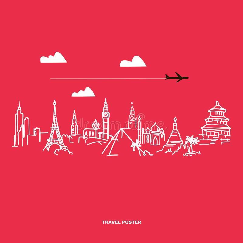 Travel and tourism poster. Drawn hands world attractions royalty free illustration
