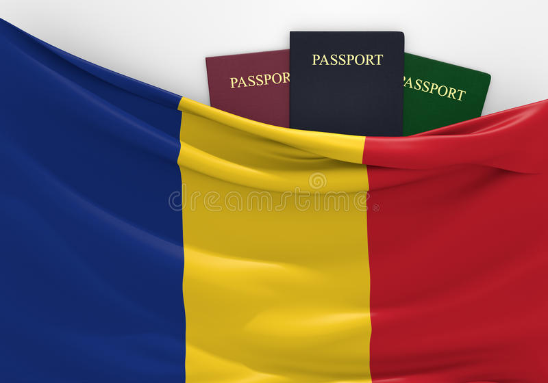 Travel and tourism in Romania, with assorted passports. 3D rendered concept for travel and tourism in Romania, with three assorted passports royalty free illustration