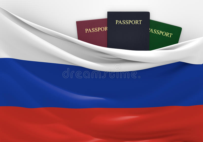 Travel and tourism in Russia, with assorted passports stock illustration