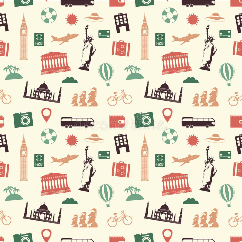 Travel and tourism seamless pattern. Vector. Illustration royalty free illustration