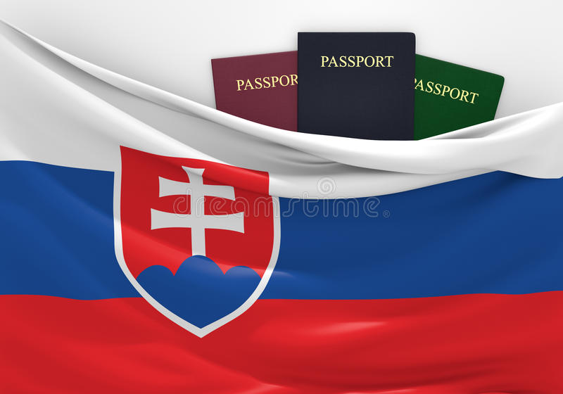 Travel and tourism in Slovakia, with assorted passports. 3D rendered concept for travel and tourism in Slovakia, with three assorted passports stock illustration