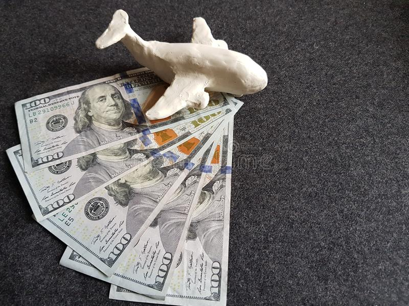 Travel and tourism, tax, commerce and exchange, price and offer in fl. White plasticine plane and dollar bills on the grey table royalty free stock image