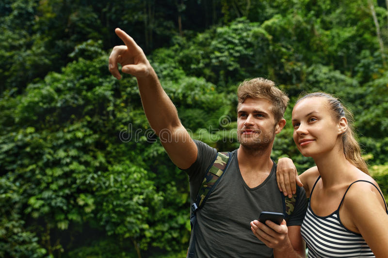 Travel And Tourism. Tourist Couple Adventure On Summer Vacation stock photos