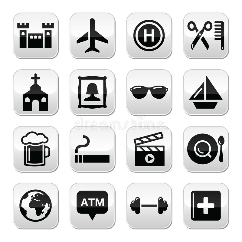 Travel Tourism And Transport  Buttons Set Royalty Free Stock Photos