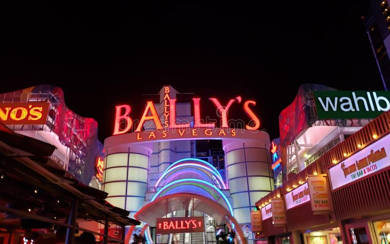 exterior view of the Bally's Hotel in the city of Las Vegas, Nevada at night royalty free stock image
