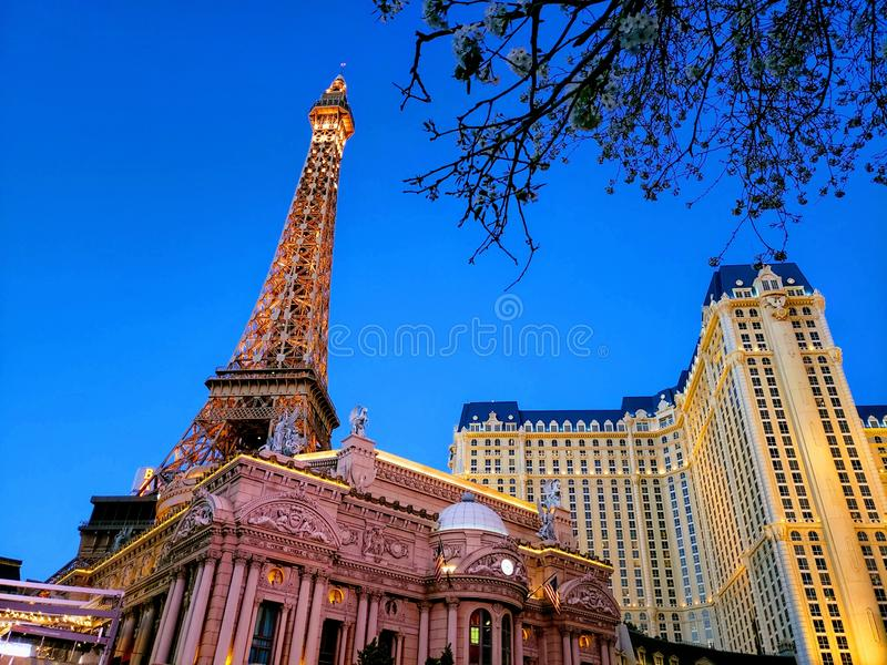 exterior view of the Paris Hotel in the city of Las Vegas, Nevada at night royalty free stock photos