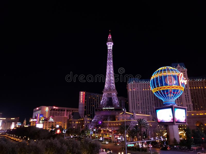 View of the tourist area on the main avenue of the city of Las Vegas, Nevada at night. Travel and tourism in the United States of America, style and design in stock images