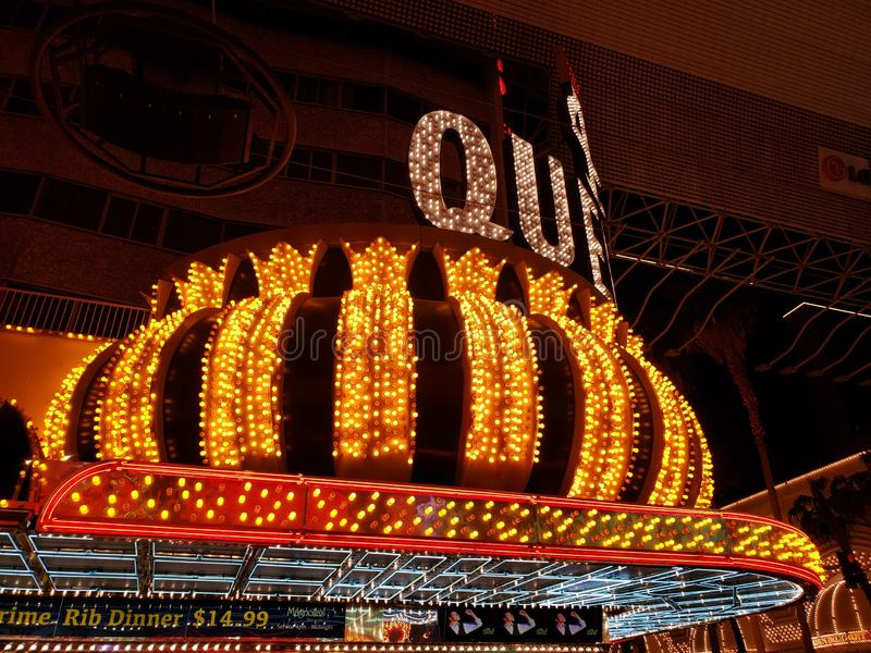 Exterior view of the hotel Four Queens at night in Las Vegas, Nevada. Travel and tourism in the United States of America, style and design in construction and royalty free stock photos
