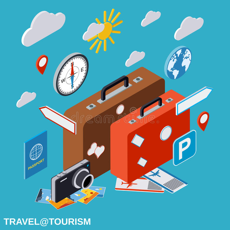 Travel, tourism, vacation vector concept stock illustration