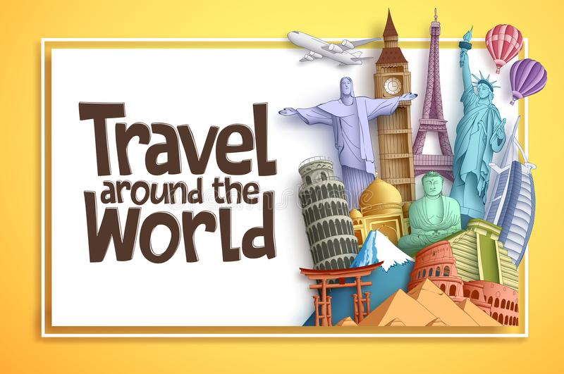 Travel and tourism vector background banner design with Travel Around The World text in an empty white space royalty free illustration