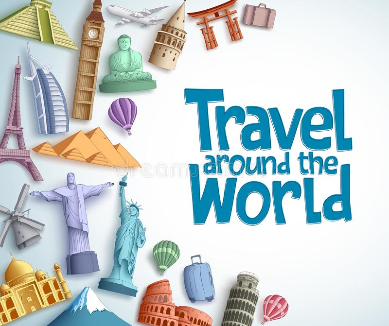 Travel and tourism vector background template with travel around the world text in empty white background vector illustration