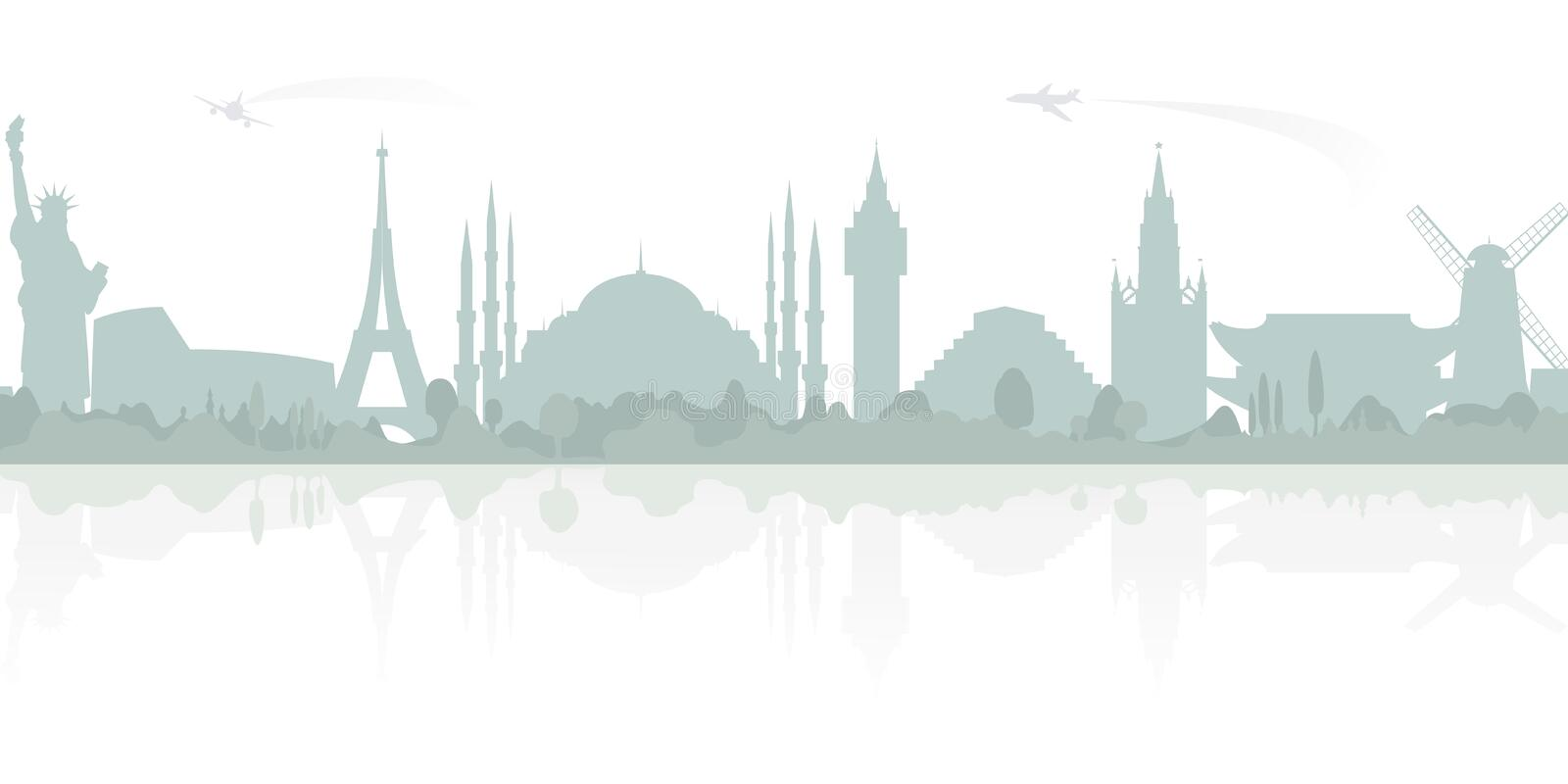 Travel and tourism. Vector background with World Landmarks. royalty free illustration