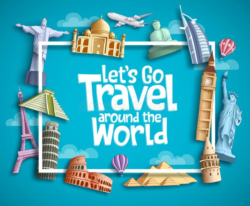 Travel and tourism vector banner design with boarder frame, travel text and famous landmarks and tourist destination elements royalty free illustration