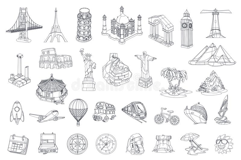 Travel, tourist attraction. vector icon set royalty free illustration