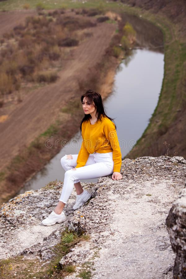 Travel Tourist Happy Woman. Travel and wanderlust concept Amazing atmospheric moment. happy woman traveling. Attractive woman rela royalty free stock photos