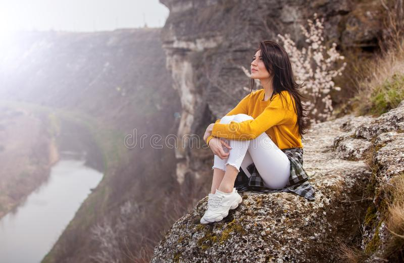 Travel Tourist Happy Woman. Travel and wanderlust concept Amazing atmospheric moment. happy woman traveling. Attractive woman rela royalty free stock images