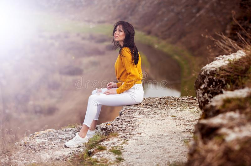 Travel Tourist Happy Woman. Travel and wanderlust concept Amazing atmospheric moment. happy woman traveling. Attractive woman rela stock image