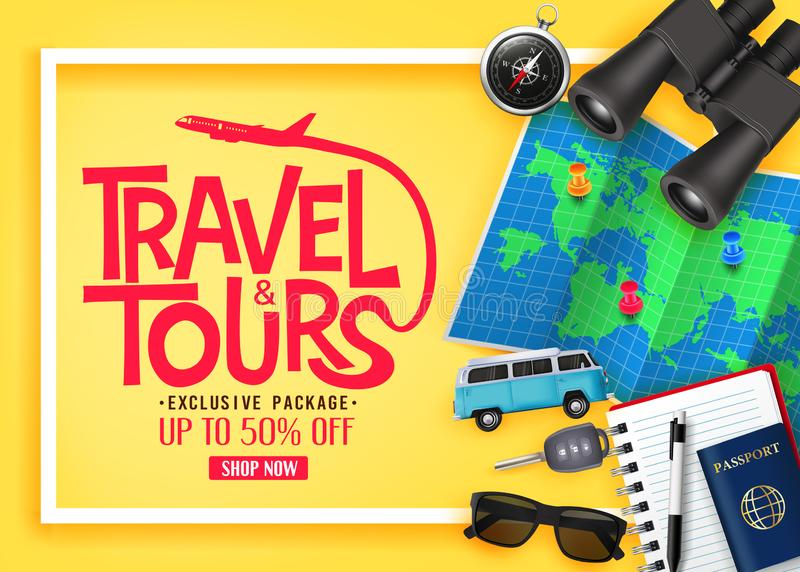 Travel and Tours Ads Banner Up To 50% Off Exclusive Package with Vector 3D Realistic Traveling Item stock illustration