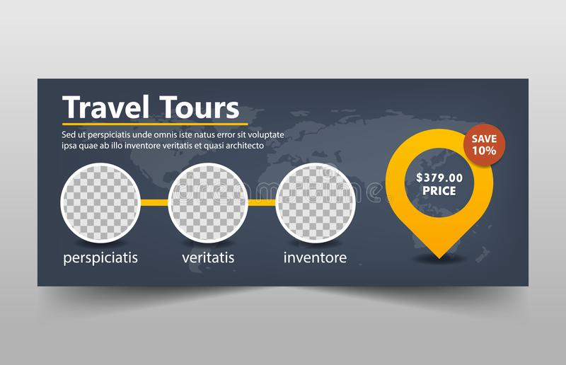 Travel tours corporate banner template, horizontal advertising business banner layout template flat design set. Yellow and black hexagon Travel tours corporate vector illustration