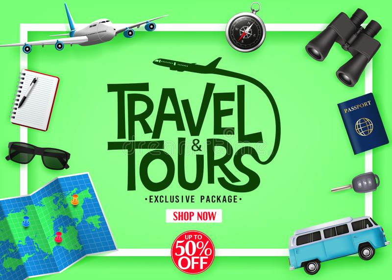 Travel and Tours Exclusive Package Up To 50% Off with Vector 3D Realistic Traveling Item Elements stock illustration