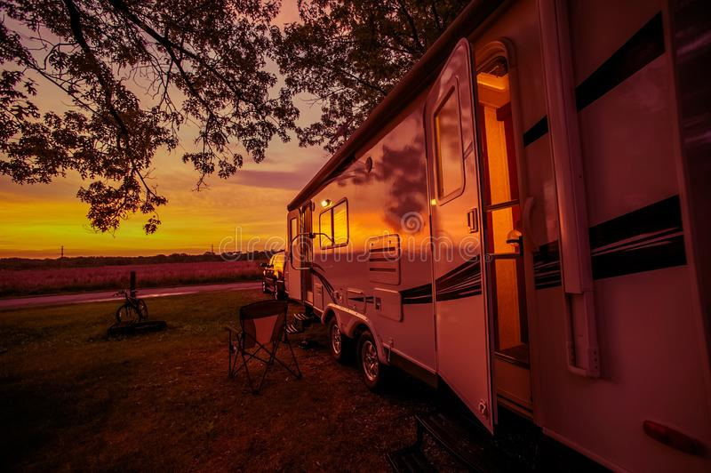 Travel Trailer Camping Spot royalty free stock image