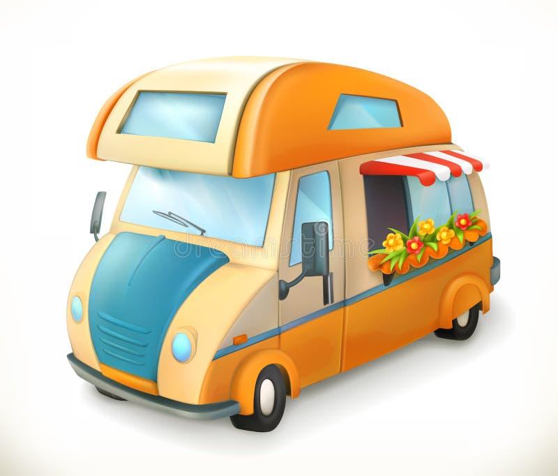 Travel trailer. Camping, vector icon vector illustration