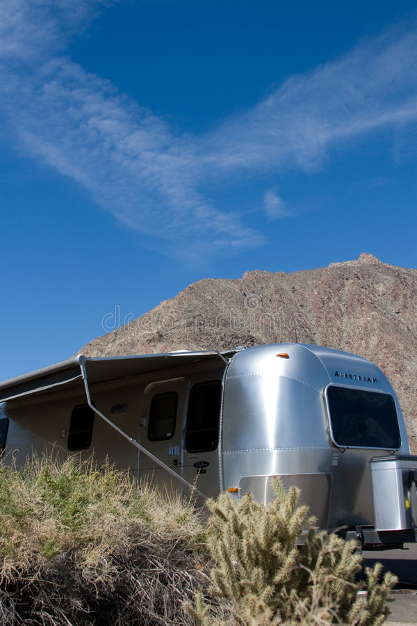 Travel Trailer In Desert Royalty Free Stock Photography