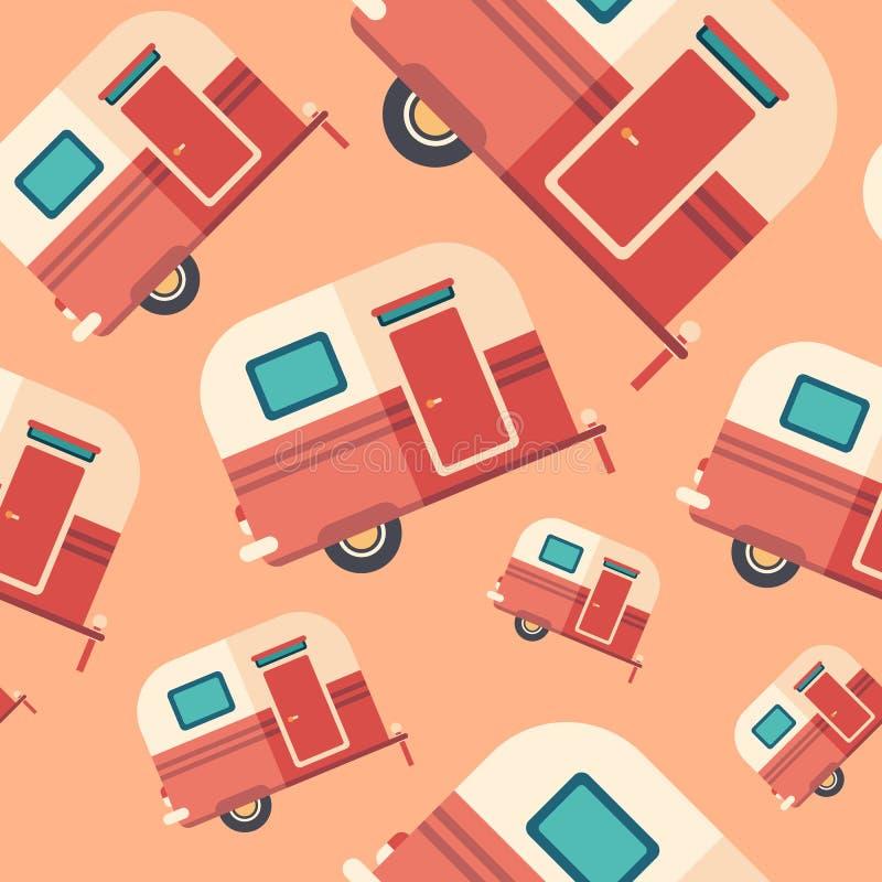 Travel trailer flat icon seamless pattern. royalty free illustration