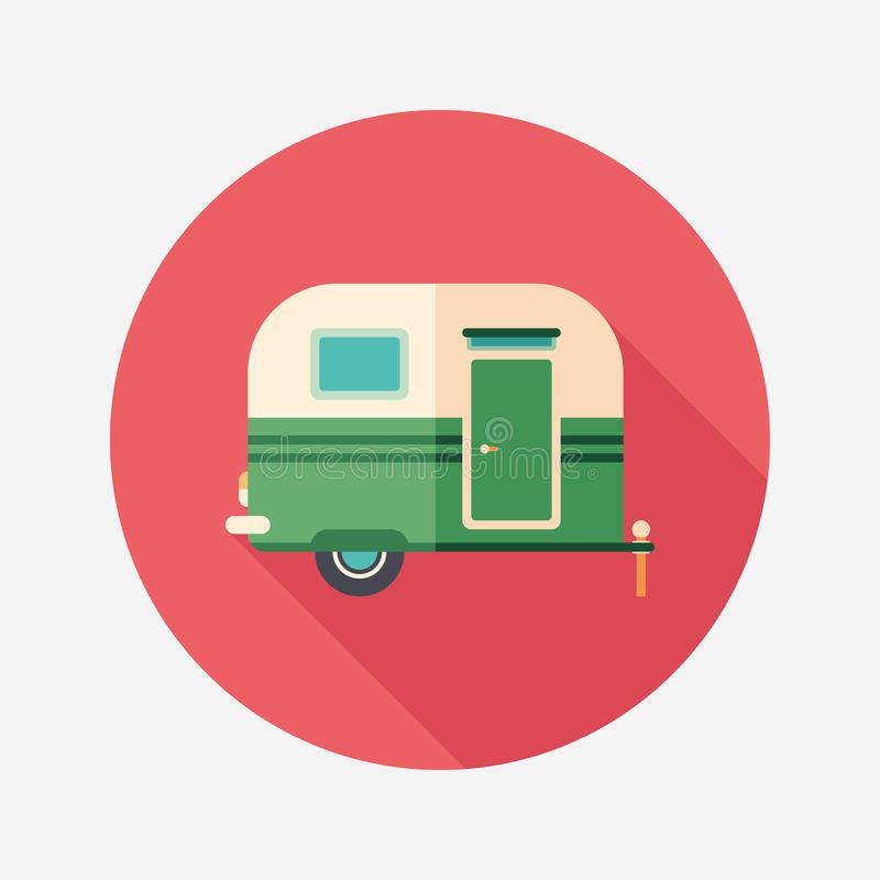 Travel trailer flat round icon with long shadows. royalty free illustration
