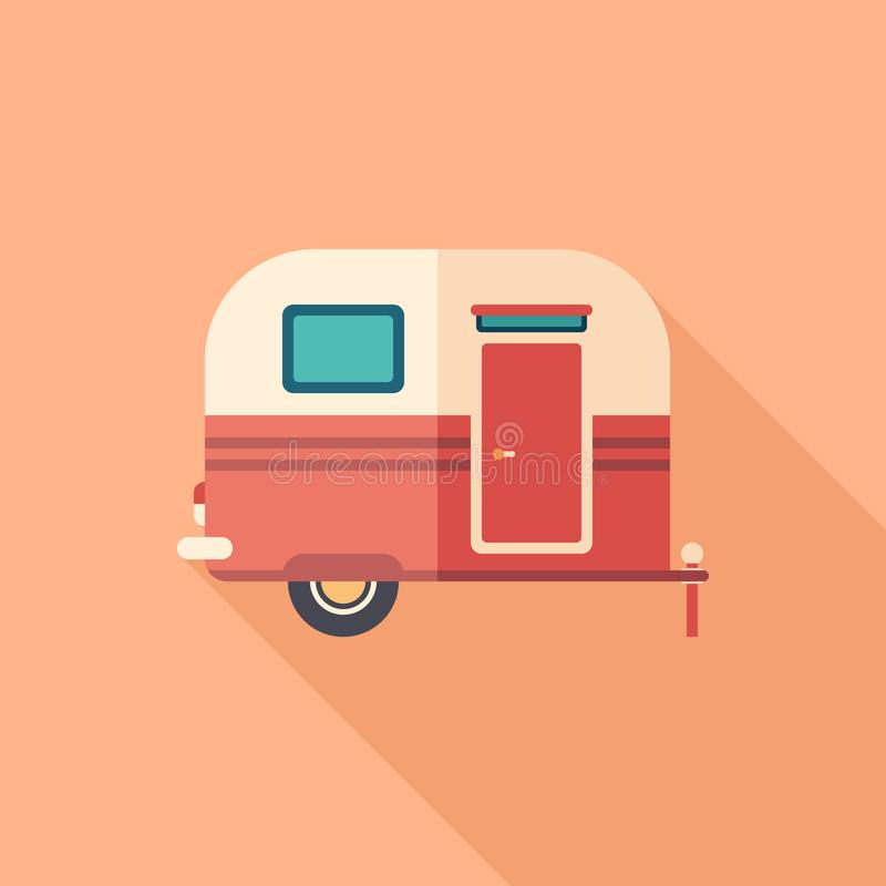 Travel trailer flat square icon with long shadows. vector illustration