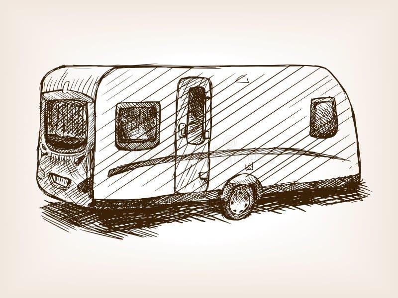 Travel trailer hand drawn sketch vector vector illustration