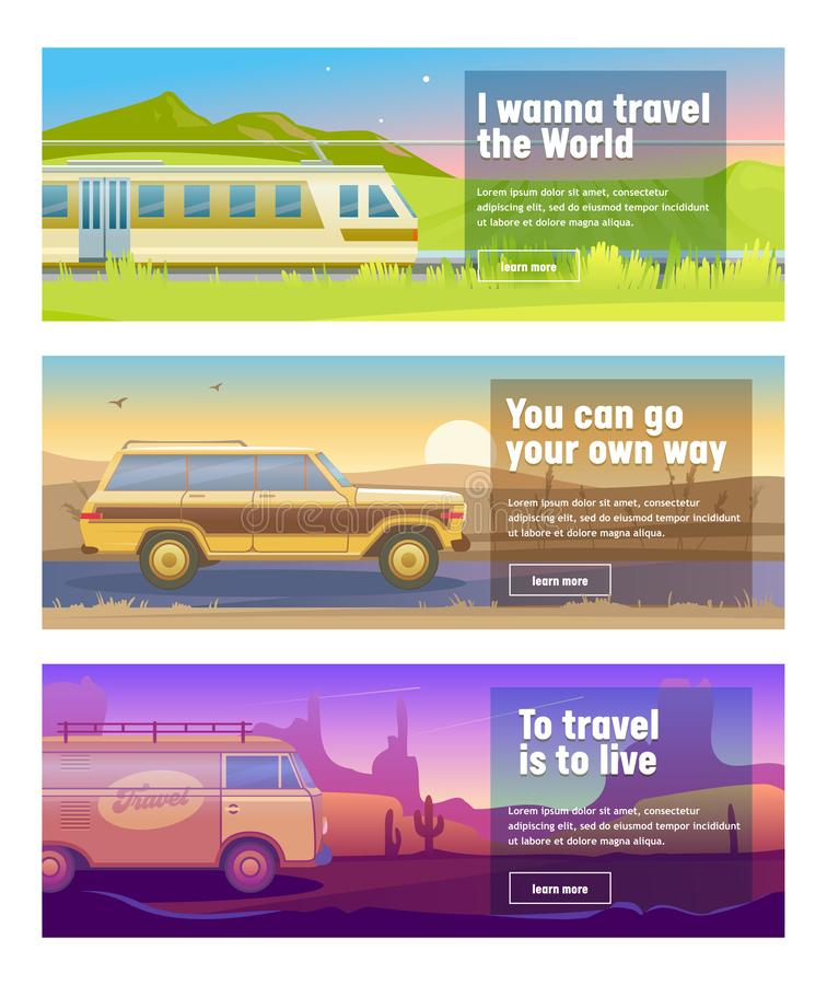 Travel for Train Car Bus Banner Set. Mountain Desert Field Landscape Background. Can Use for Advertisement Poster Card stock illustration