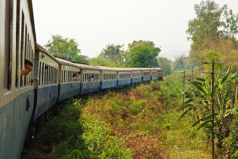 Travel by train in kanchanaburi royalty free stock photography