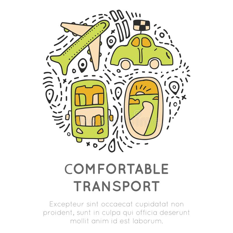 Travel transport icon collection. Travelling transportation icons concept in round form with decorative elements. Traveling icon about transports - airplane royalty free illustration