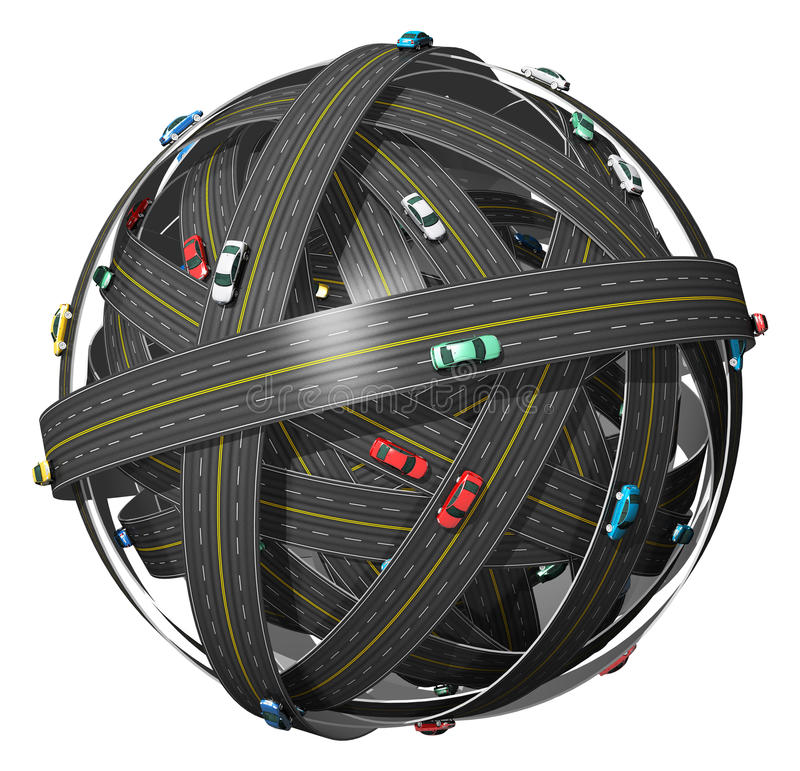 Travel and transportation concept. Travel, transportation and GPS navigation concept: ball of roads with color cars isolated on white background vector illustration