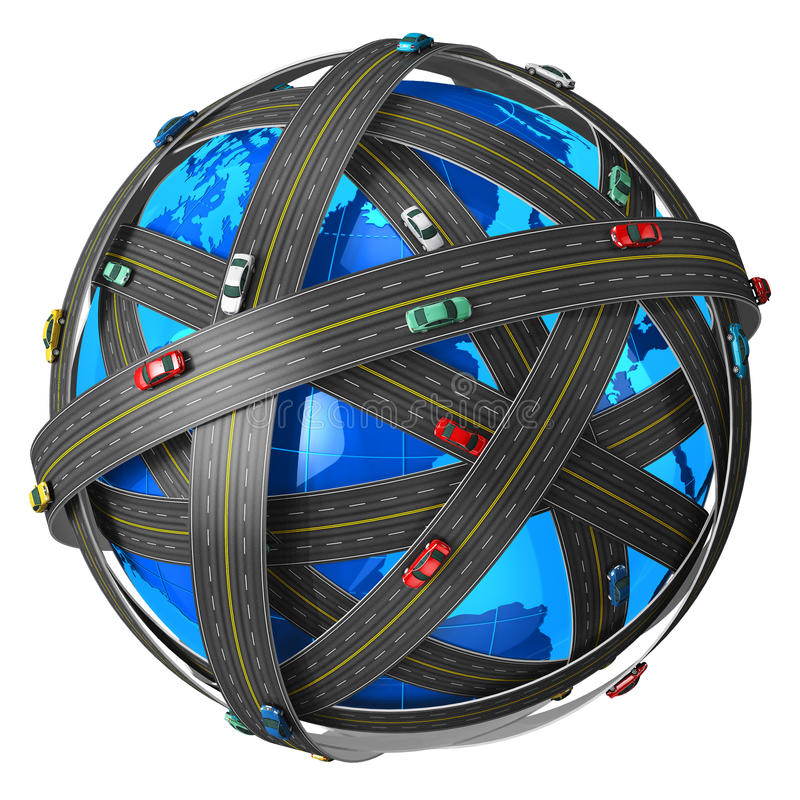 Travel and transportation concept. Travel, transportation and GPS navigation concept: blue Earth globe covered by endless roads with color cars isolated on white stock illustration