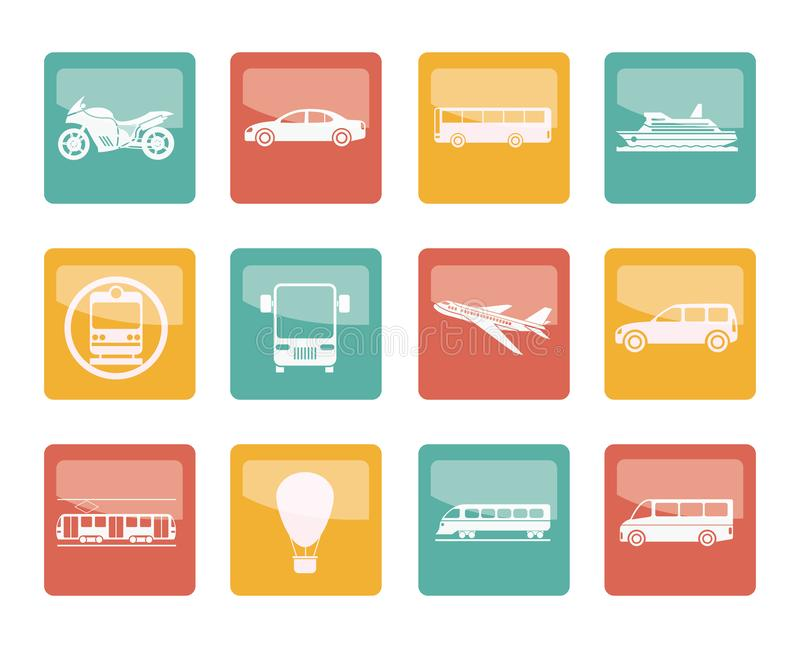 Travel and transportation of people icons over colored background royalty free illustration