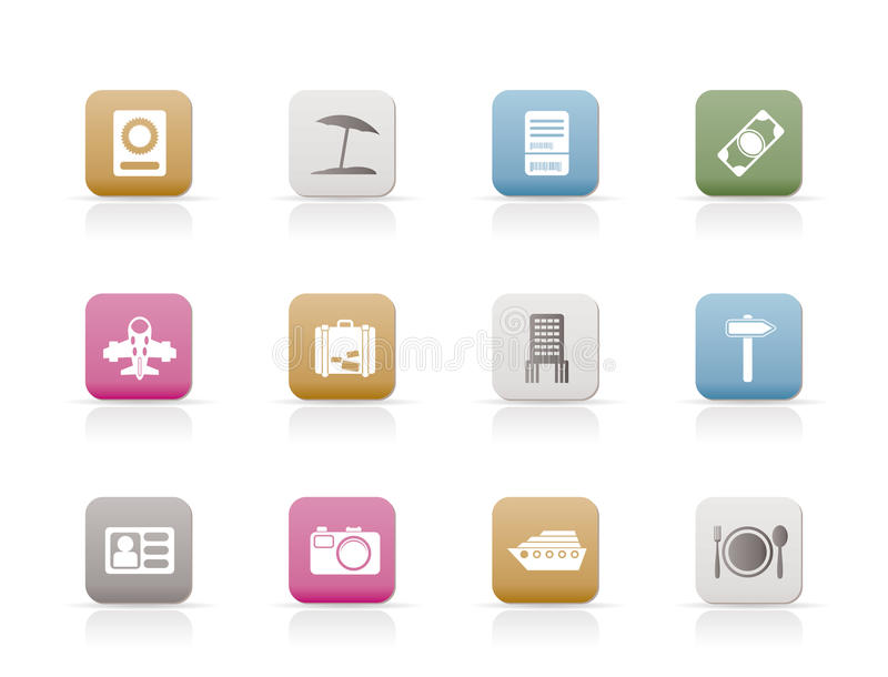 Travel, Trip And Holiday Icons Royalty Free Stock Photo