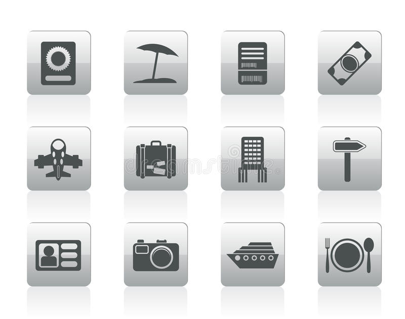 Travel, trip and holiday icons. Vector icon set vector illustration