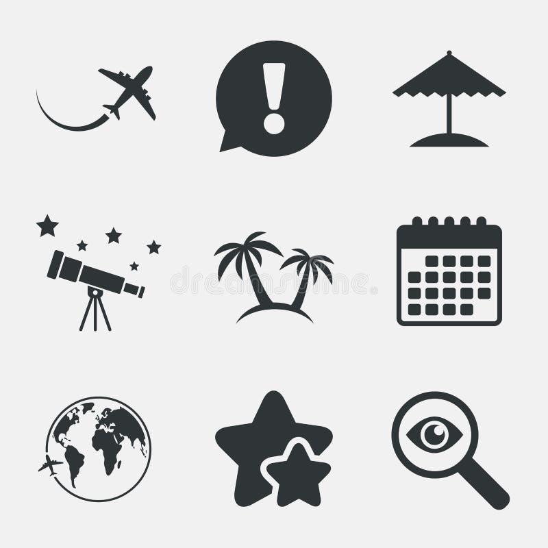 Travel trip icon. Airplane, world globe symbols. vector illustration