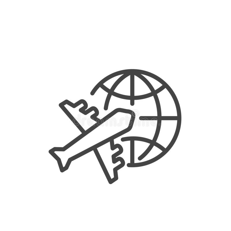 Travel trip round the world symbol. Airplane icon isolated. Modern outline on white background royalty free illustration