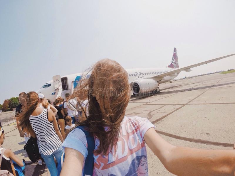 Travel trip summer girl plane stock image