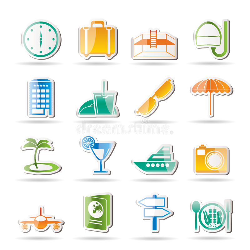 Travel, trip and tourism icons vector illustration