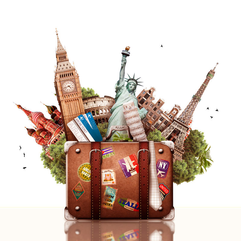 Travel. And trip, tourist background with a suitcase