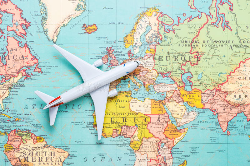 Travel. Trip. Vacation - Top view airplane with touristic map royalty free stock images